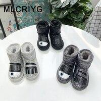 Buty zimowe dla dzieci buty dla dzieci oryginalne skórzane buty dla dzieci dziewczyny brokat kostki buty maluch buty marki chłopcy czarne miękkie buty w Buty od Matka i dzieci na