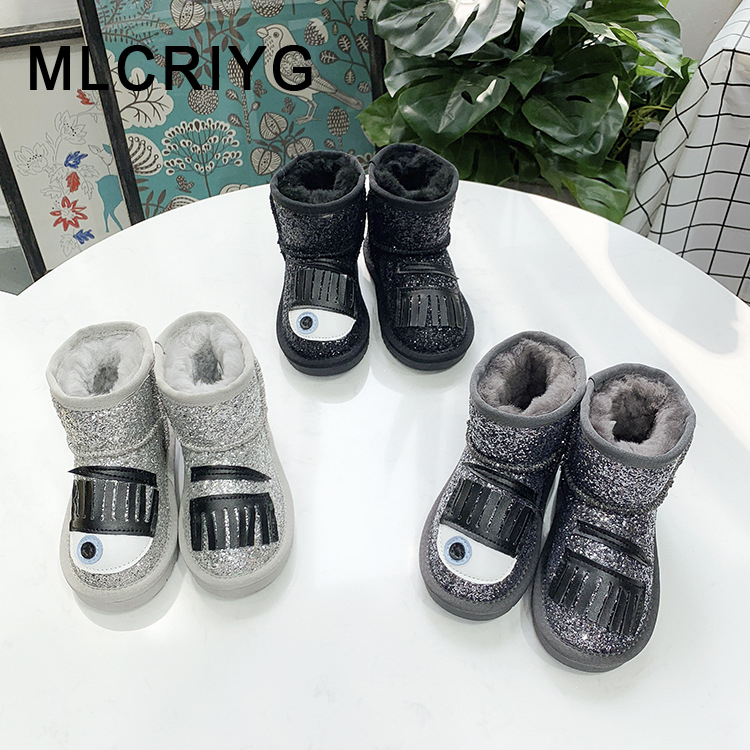 Winter Kids Snow Boots Children Genuine Leather Shoes Baby Girls Glitter Ankle Boots Toddler Brand Boots Boys Black Soft Boots
