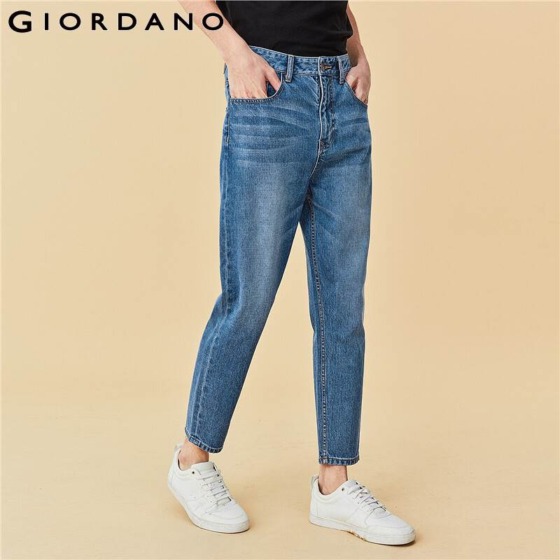 Giordano Men Jeans Mid Rise Straight Denim Jeans Cotton Classic Five Pockets Loose Straigt Vaqueros Hombre 01110073
