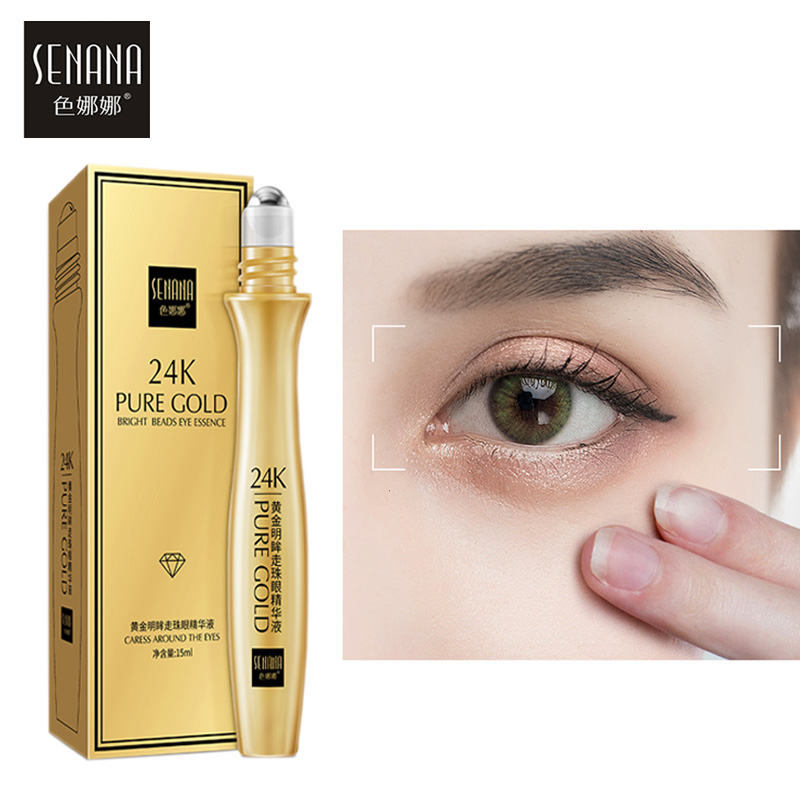 SENANA Eye Serum 24K Gold Anti Wrinkle Anti-Aging Roll-on Essence Remove Puffiness Dark Circles Moisturizing Firming Eye Care