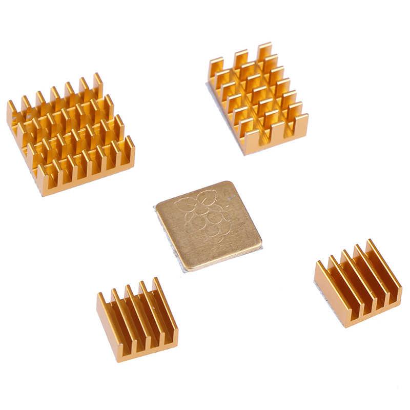 Ze stopu aluminium ze stopu aluminium dla Raspberry Pi 2/3/4 3B + 4B Radiator aluminiowy zestaw do chłodnicy 4 sztuk Radiator + 1pc blachy miedzianej
