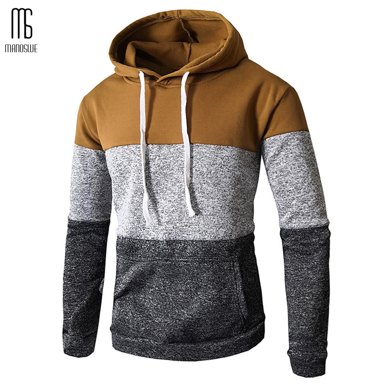 Manoswe Leisure Color Matching Men's Hoodie 2019 Hot Sale New 6 Color Long Sleeve Slim Fit Sweatshirts Oversized Hoodies 3XL