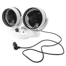 Car Fan 12V 24V Car Cooling Fan 360 Degree Adjustable Dual Head USB Charging for Cars Truck SUV Boat Summer