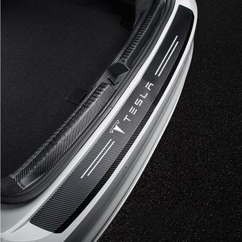 Skórzany tylny zderzak samochodowy naklejki osłona bagażnika odlewnictwo do akcesoriów tesla model 3 X S Y tanie i dobre opinie KULEOU Do drzwi wewnętrznych CN (pochodzenie) Z włókna węglowego Leather