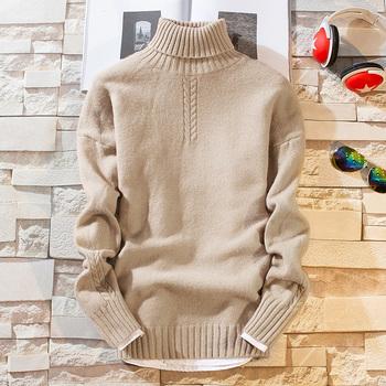 2020 nowy zimowy gruby ciepły sweter z kaszmiru mężczyzn z długim rękawem z golfem swetry męskie swetry najwyższej jakości miękkie ciepłe Pull Homme tanie i dobre opinie BKTrend Cienka wełna Na co dzień Komputery dzianiny CASHMERE COTTON Stałe Sweater Men Pełna REGULAR Grube Brak NONE