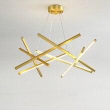 72 w 88 104 ouro/preto conduziu a iluminação do candelabro para sala de estar decoração casa lâmpada pendurada moderna simples lustres acrílico