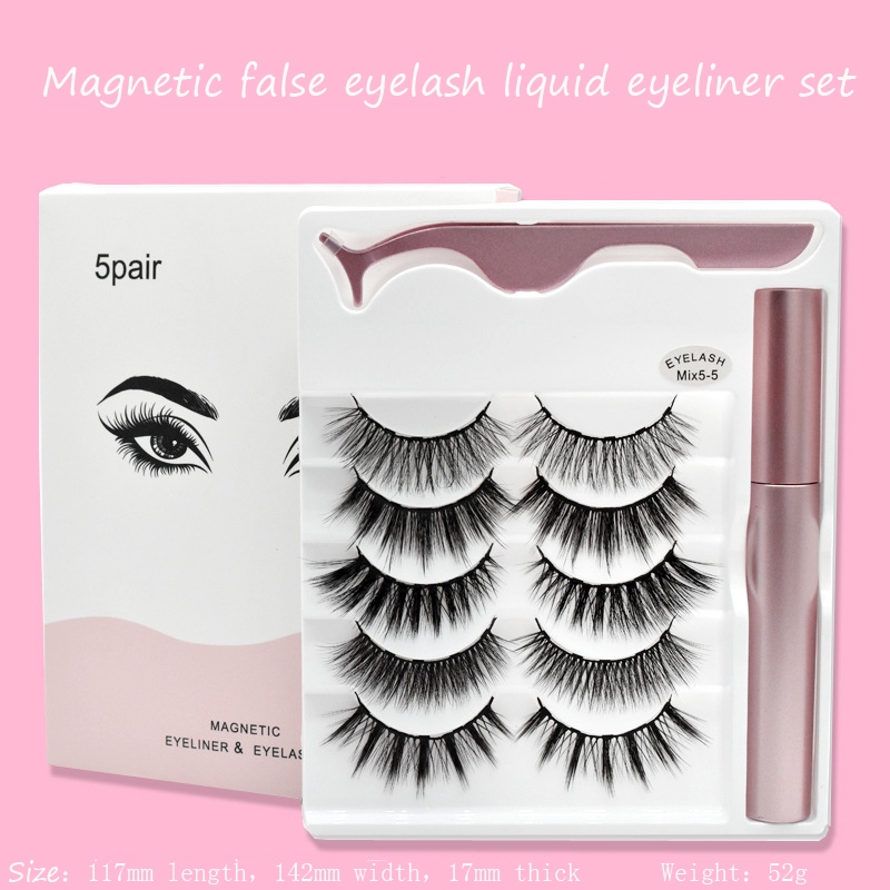 5 Pairs Waterproof Mixed <font><b>Magnetic</b></font> 3d False <font><b>Eyelashes</b></font> <font><b>Eyeliner</b></font> <font><b>Set</b></font> with Tweezers Eye Makeup Fashion Cosmetics Beauty Kit image
