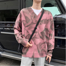 Winter Sweater Men Warm Fashion Print Casual V-neck Pullover Streetwear Wild Loose Hole Sweter Male Clothes M-2XL