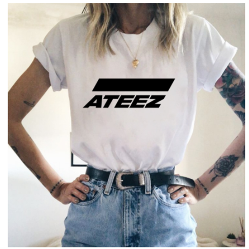 LUSLOS Ateez T Shirt Fashion Korean Style Women T Shirts Fans Tee Tops Female Short Sleeved Summer Streetwear Tshirt White Tees