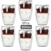 350ML tazza di vetro a doppia parete trasparente fatto a mano resistente al calore tazza di tè tazza di Whisky MINI tazza di caffè Espresso da 100 gradi centigradi