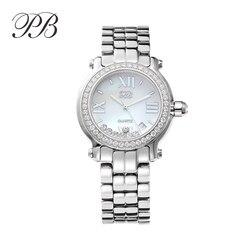 PB 2020 часы женские наручные Мозаика горный хрусталь из нержавеющей стали ремешок серебро с бриллиантами часы кристалл фиолетовый корона люк...