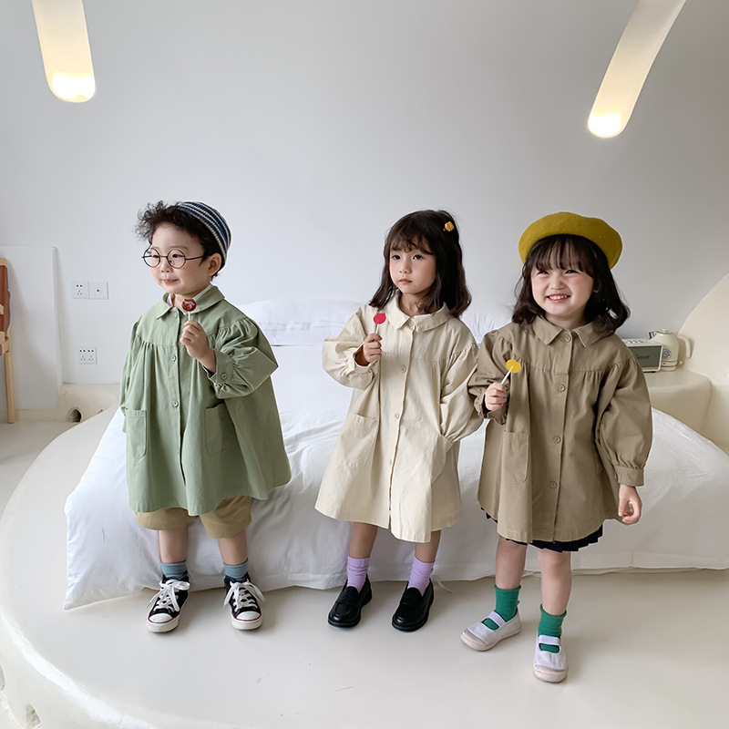 Children's  Leisure Wear 2020 Spring New Korean Girl Doll Trench Coat Children's Lapel Crewneck Loose Coat Kids Cotton Jacket