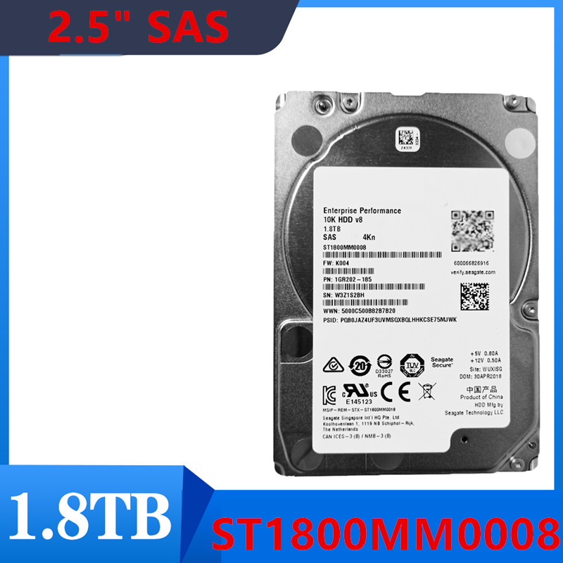 """New HDD For Seagate 1.8TB 2.5"""" SAS 12 Gb/s 128MB 10000RPM For Internal HDD For Enterprise Class HDD For ST1800MM0008 1"""