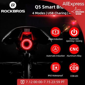 ROCKBROS-Luz inteligente para automóbil, para bicicleta, con sensor de freno IPx6, resistente al agua, foco trasero LED de carga, accesorios Q5 1