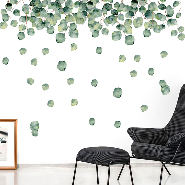 1 Set Of Green Foliage Leaves Botanical Wall Stickers 2