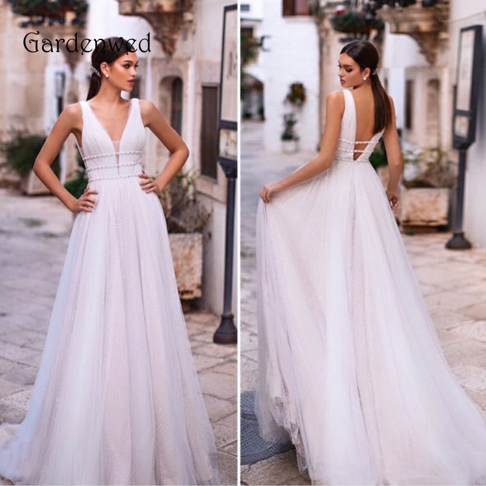 Glitter Wedding Dress 2020 Sexy A Line Bride Dress V Neck Beading Straps Tulle Fairy Bride Gowns Open Low Back