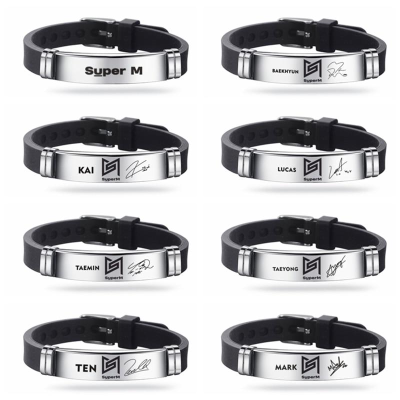 Kpop superm charme pulseira pulseira exo nct127 silicone jóias pulseiras de aço inoxidável