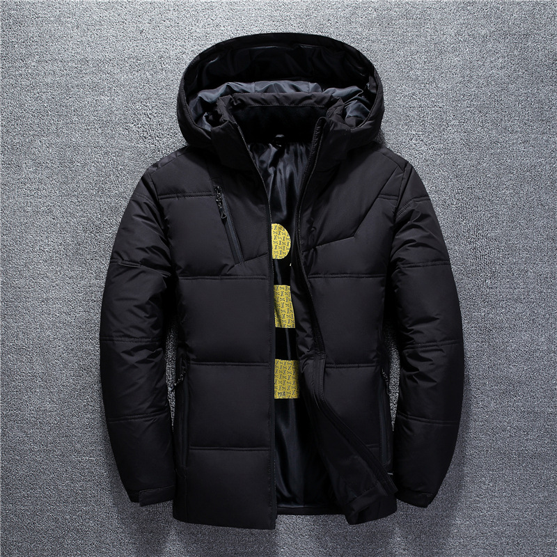 Winter new 2019 men's   down   jacket short   down   jacket Detachable cap thick windproof warm   coat   Young snow white duck   down   jacket