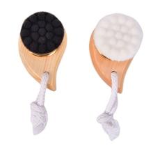 Women Deep Pore Clean Wash Wooden Horn Facial Cleansing Brush Face Comma Brush Soft Fiber Facial Bea