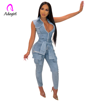Adogirl Front Zipper Sexy Denim Jumpsuit Women Romper Bodycon Autumn Jeans Overalls Casual Sleeveless Party Club Wear Outfits tiye women bodycon glitter rhinestones sexy shorts playsuit jumpsuit front zipper v neck sleeveless club romper summer overalls