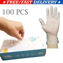 100pcs/ Box Disposable Gloves Clear Vinyl PVC Gloves Powder &Latex Free Cleaning For Spa Hair Salon Daily Personal Care(China)
