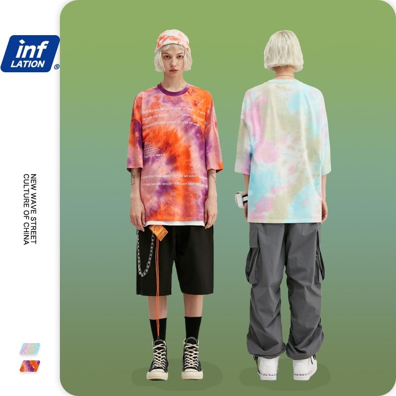 INFLATION Men Tshirt Tie Dye Letter Printing Streetwear Hip Hop Men T Shirt Oversized Tie Dye  Men Tshirt Boys Tshirt 1108S20