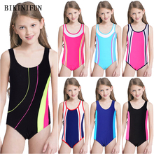 New Girl Patchwork Swimsuit Kids One Piece Suit Sports Racing Bathing 5-14 Ages Children Solid Color Swimwear Surfing