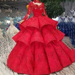 Image 3 - LS11290 robe de bal robes de soirée col haut manches longues à lacets dos rose robes de soirée de mariage pli multi couche vestido longo