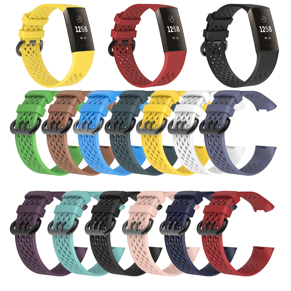 Breathable Waterproof Replacement Watch Strap For Fitbit Charge 3 / Charge 3 SE Silicone Sport Band Wristband Large Small