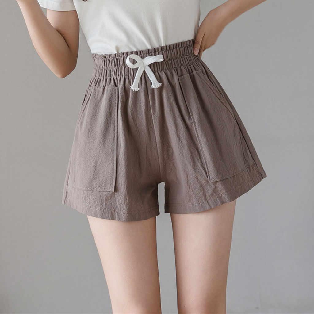 Shorts feminino, faixa de algodão e linho solto plus size 4xl @ 30
