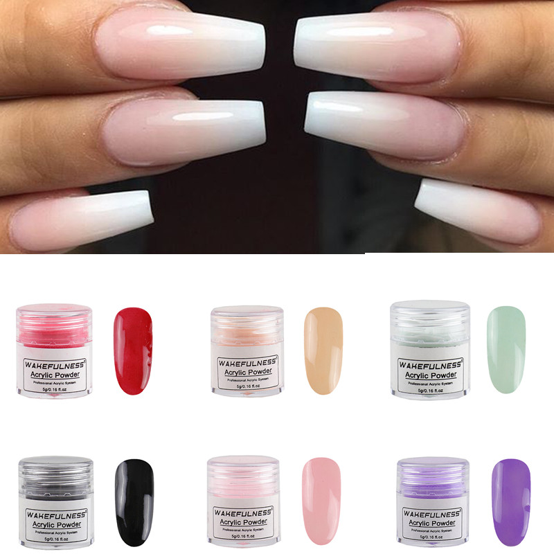 5g Acrylic Powder 13 Colors Acrylic Nail Art Kits UV Gel Powder Design Decoration 3D Manicure Extension Pink Black Powder Dust