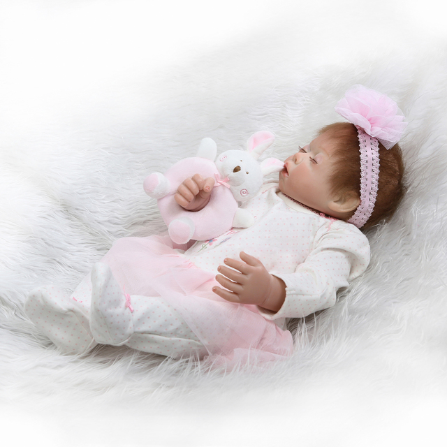 Pink Sleeping Bebe Doll Reborn Baby Soft Silicone Hand Rooted Hair 5