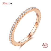 TONGZHE Handmade Simple 925 Sterling Silver Rings For Women Austrian Crystal Rose Gold Black Color Wedding Jewelry Wholesale zhouyang top quality zyh147 simple and noble rose gold color bracelet jewelry austrian crystals wholesale