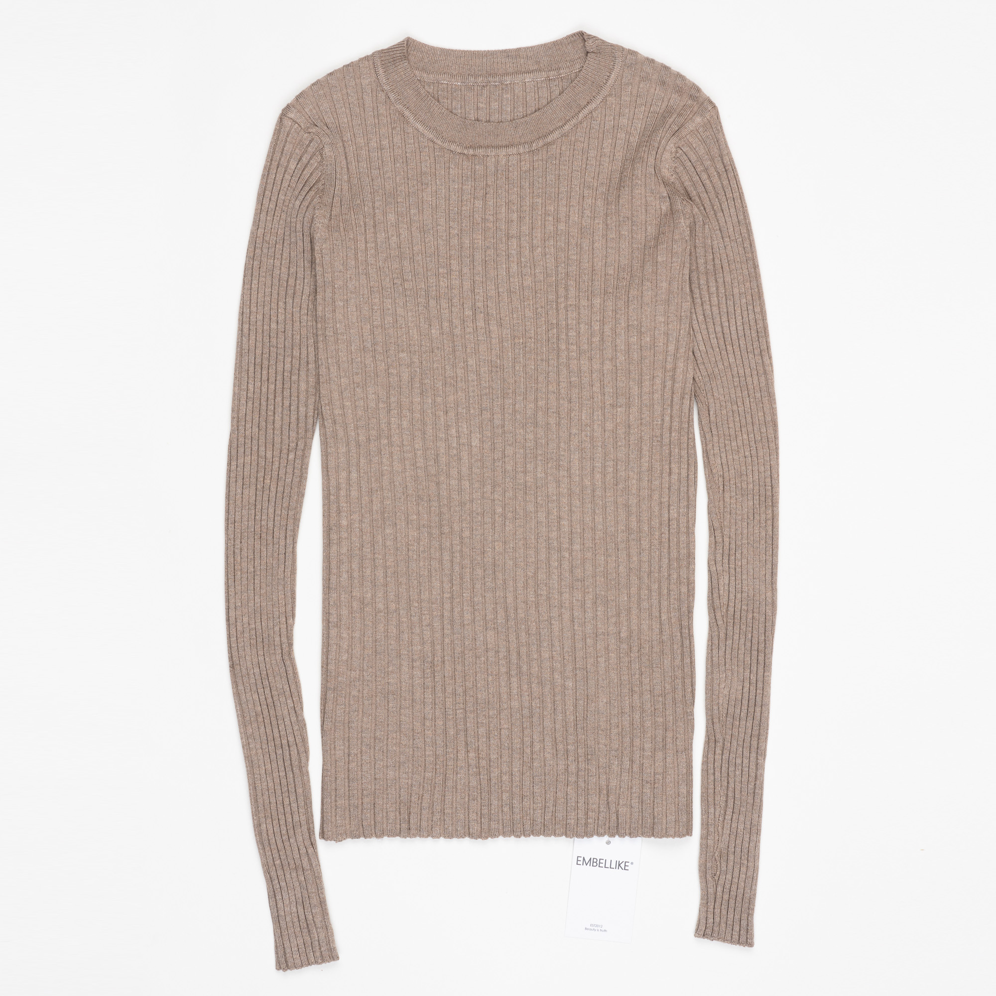 Women Sweater Pullover Basic Ribbed Sweaters Cotton Tops Knitted Solid Crew Neck With Thumb Hole 11