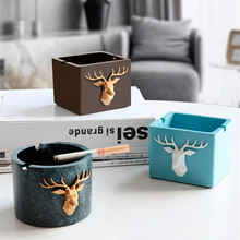 European Style Modern Resin Deer Head Pattern Windproof Ashtray for Home Hotel Gift Smokeless Ashtray Holder Office Ornaments