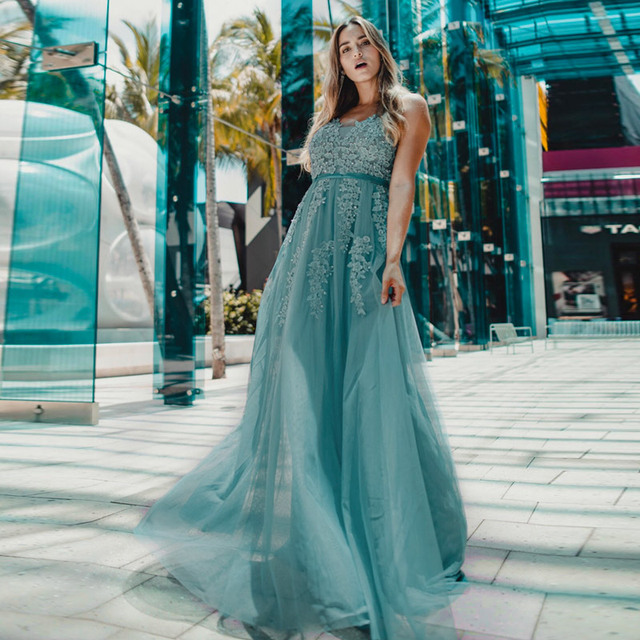 Prom Dresses Long 2020 Ever Pretty Elegant Long V-neck Tulle Lace Applique Sleeveless A-line Hot Selling Vestidos De Graduacion 5