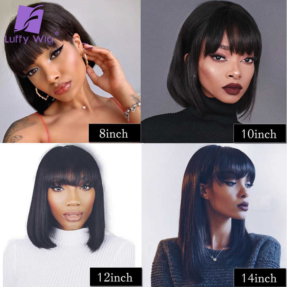 200 Density 13x6 Straight Bob Lace Front Wigs With Bangs 8-14inch Remy Short Brazilian Human Hair Frontal Wig LUFFY
