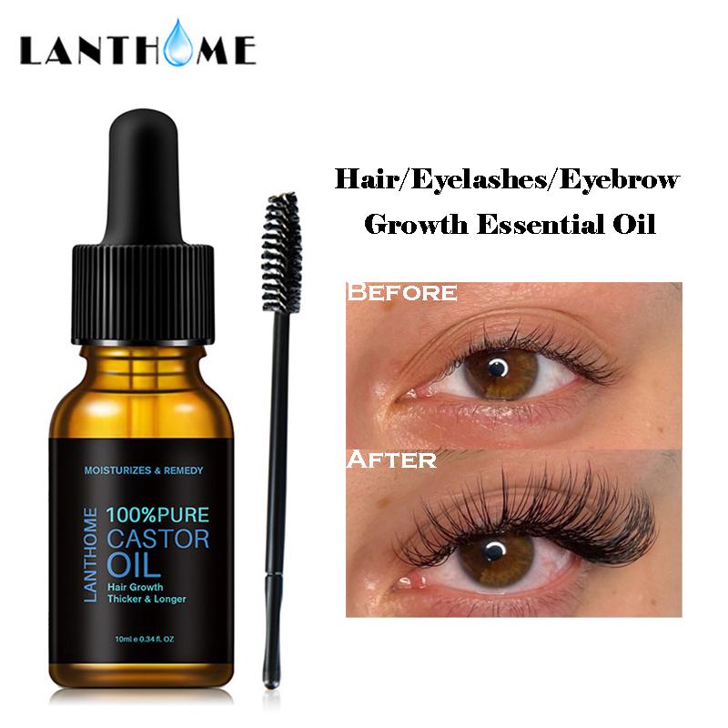 Pure Castor Oil Eyelashes Growth Serum Hair Treatment Eyebrow Fast Growth Liquid Essential Oil Makeup Eyelash Enhancer 10ml