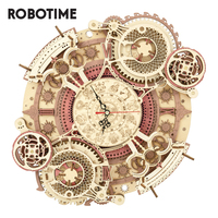 Robotime ROKR-Reloj de pared del Zodíaco para niños, rompecabezas 3d de madera, modelo de juguetes LC601
