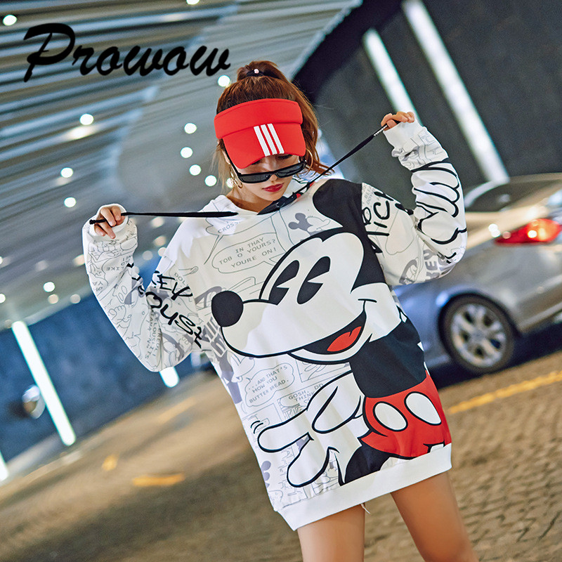 Plus Size Women Sweatshirt Cartoon Mickey Printed Pullover Hoodies New Female Loose Tops Sweatshirt Women's Casual Sweatshirt