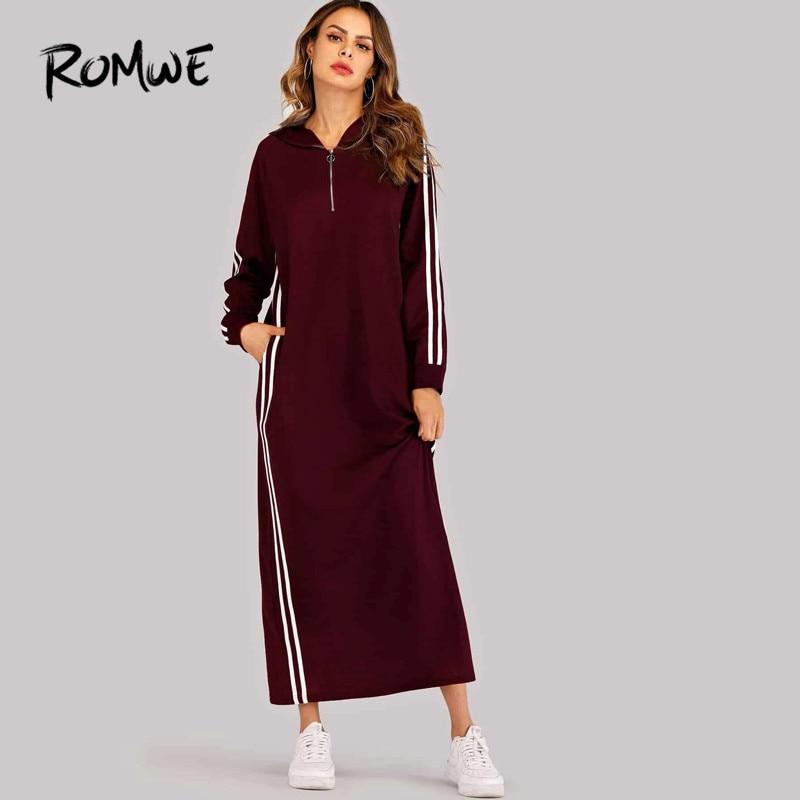 Image 5 - ROMWE Black Hooded Long Sleeve Straight Maxi Sweatshirt Dress  Women Spring Autumn Side Striped Tape Zipper Up H Hoodie  DressesDresses