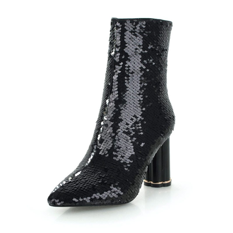 Classics Sequined Cloth Ankle Boots Fashion Bling Comfortable Women Shoes Sexy Crystal High Heels Buty Damskie Jesienne Botki