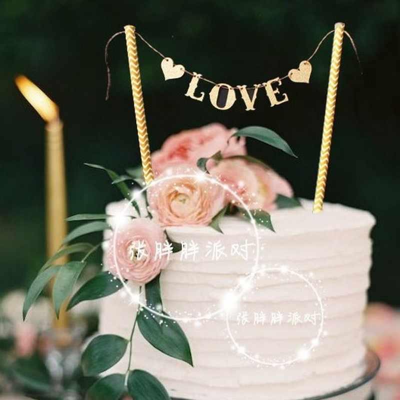 1 conjunto de bandeiras de coração e amor, para casamento, bolo, bandeira de festas, casamento, decoração de bolo, suprimentos
