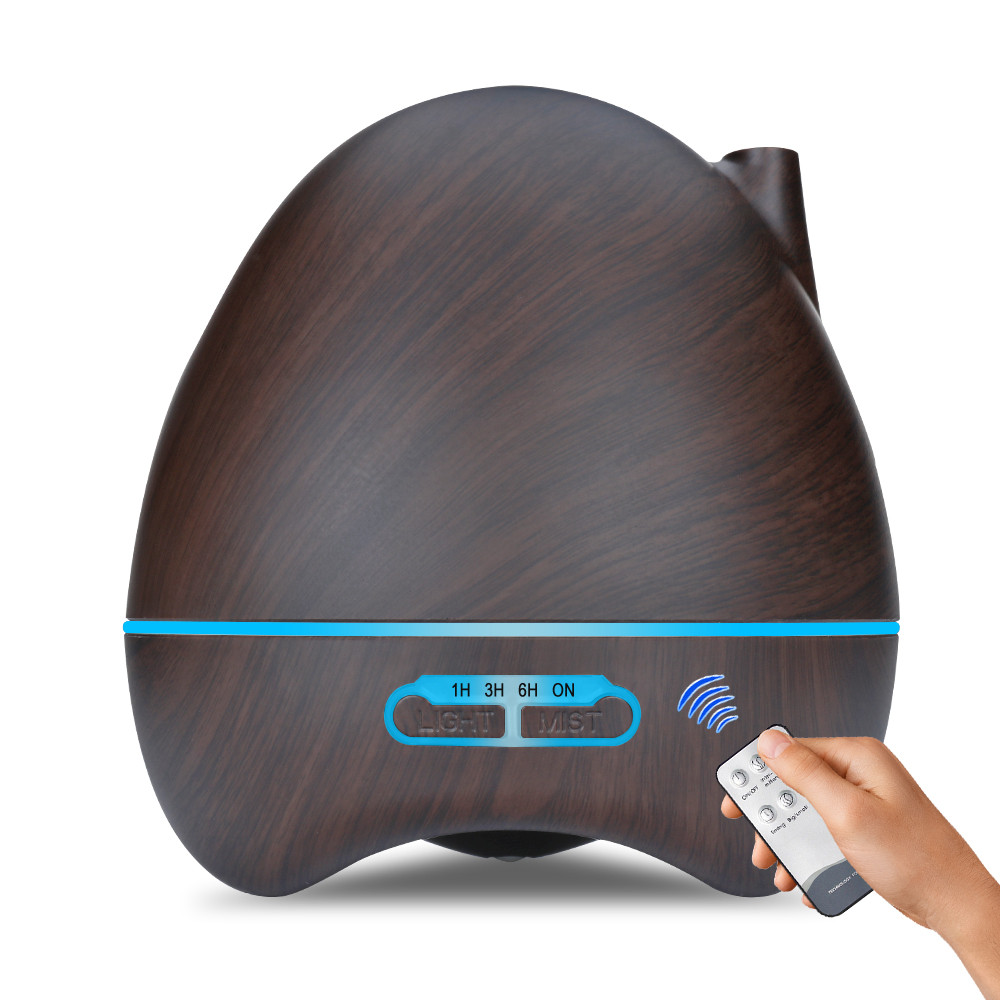 550ml remote control Aroma Air Humidifier wood grain with LED light Essential Oil Diffuser Aromatherapy Electric Mist Maker Home Humidifiers     - title=