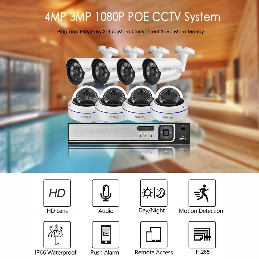 H.265 + 8CH 4MP HDMI POE طقم NVR نظام الدائرة التلفزيونية المغلقة 4MP 2MP المعادن في الأماكن المغلقة في الهواء الطلق الصوت قبة IP كاميرا فيديو الأمن المراقبة مجموعة