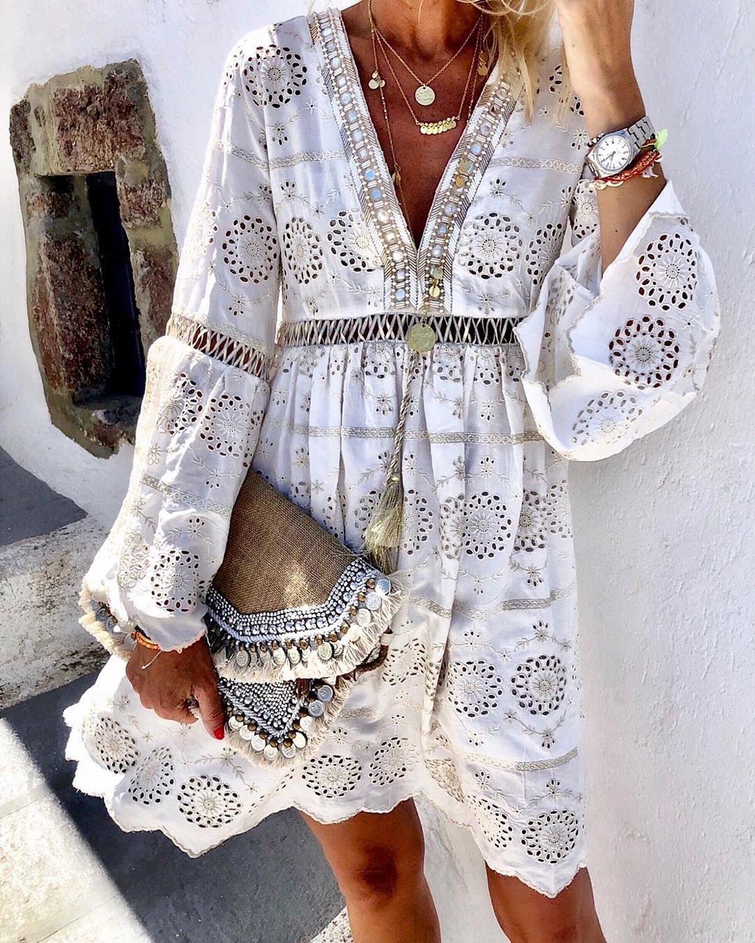 Sexy Lace Summer Dress Women 2020 Fall Long Sleeve Hollow Out V-Neck A-Line Mini Dresses Casual Loose Beach Short Dress
