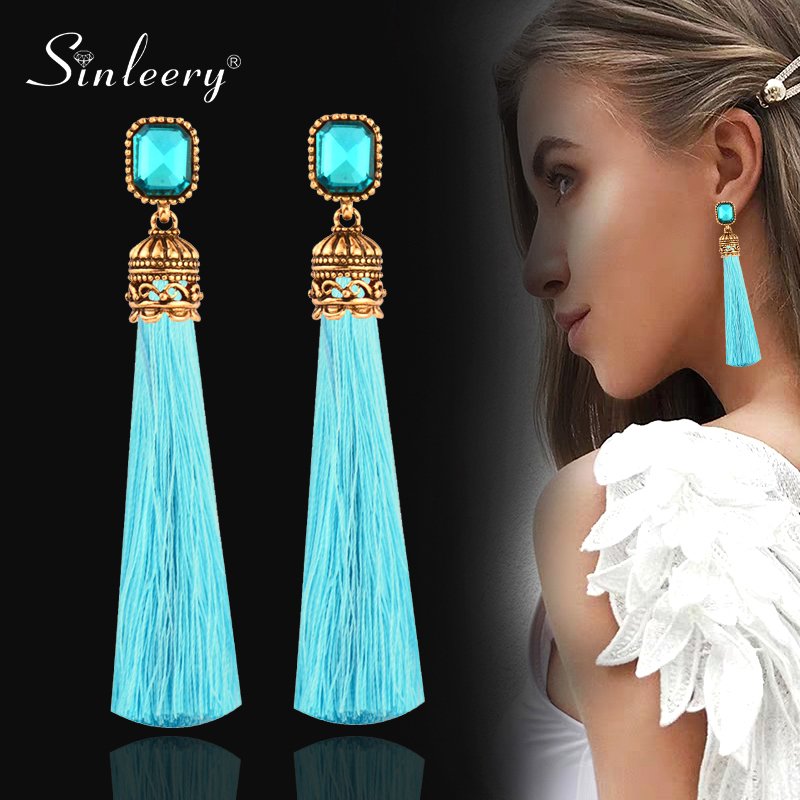 SINLEERY Female Red Black Square Cubic Zirocnia Long Silk Tassel Earring Boho Antique Gold Color Ethnic Jewelry ES157 SSH