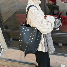 Retro Rivets Large Bucket Bags Women Handbags Casual Capacity Tote Fashion Solid Color Big Shoulder Chic Shopping Bag