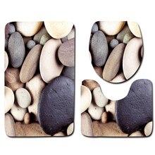Океанский пляж 3D с рисунком, Нескользящие коврик для ванной+ крышка для унитаза+ коврик для ванной для украшения дома