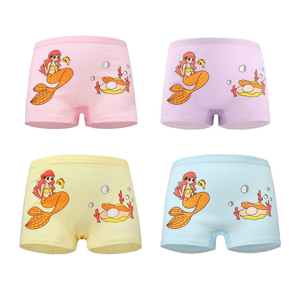 4 Pcs High Quality Pure Cotton Soft Children Underwear Girls Panties Cute Pattern Kids Boxer Briefs Child Girl Pants 2-12 Years 5